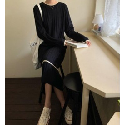 韓国 ファッション レディース ニット ワンピース ワンピ ロング ライン リブ 大きいサイズ ゆったり 長袖 カジュアル シンプル 大人可愛