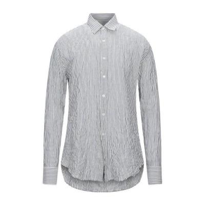 VANGHER N.7 ストライプ柄シャツ  メンズファッション  トップス  シャツ、カジュアルシャツ  長袖 ブルーグレー