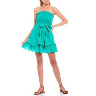 シティヴァイブ レディース ワンピース トップス Strapless Smocked Bodice Tiered Skirt Gauze Dress