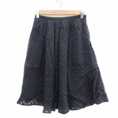 【中古】ジャスグリッティー スカート フレア ギャザー ひざ丈 ギンガムチェック柄 0 紺 ネイビー レディース
