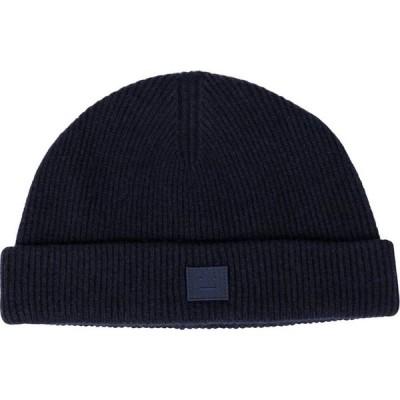 アクネ ストゥディオズ Acne Studios レディース ニット ビーニー 帽子 Ribbed-knit wool beanie Navy