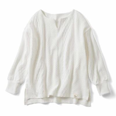 Live love cottonプロジェクト 編み柄が素敵な袖口リブオーガニックコットントップス〈ホワイト〉 リブ イン コンフォート フェリシモ FELISSIMO