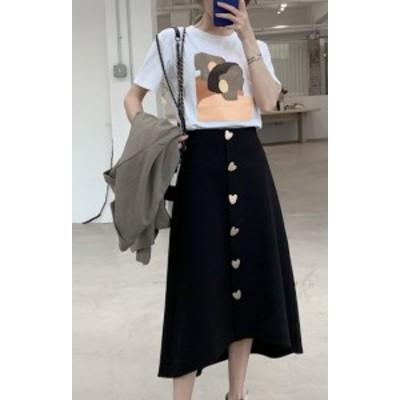 ハイウェストスカート フレアスカート ミモレ丈 大きいサイズ ゆったり Aライン アシンメトリー 春 黒 ワインレッド 大人女子 10代 20代