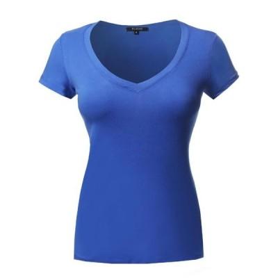 レディース 衣類 トップス FashionOutfit Women's Short Sleeve Wide V-Neckline T-Shirt ブラウス&シャツ