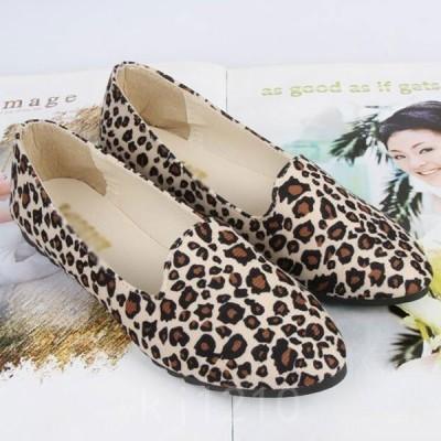 パンプスレディースコンフォートパンプスローヒールパンプスフラット靴ヒョウ柄2色ベージュイエロー春