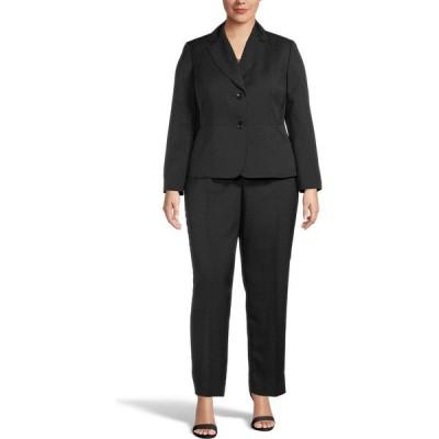 ル スーツ Le Suit レディース スーツ・ジャケット パンツスーツ 大きいサイズ アウター Plus Size Mini-Crosshatch Pantsuit Black
