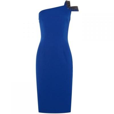 ジェイエス コレクションズ JS Collections レディース ボディコンドレス ワンピース・ドレス One shoulder embellished bodycon dress Blue