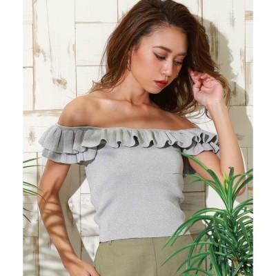 tシャツ Tシャツ ラメフリル2WAYリブトップス
