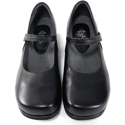 [Mio comfort] 幅広甲高 黒 パンプス 5e 本革 日本製 外反母趾 フォーマル リクルート ブラック u02bl 23cm