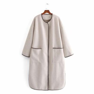 パイピングコート レディース 冬コートレディース パイピングジャケット ロング丈 マキシ丈 無地 ゆったり シンプル 長袖 大人可愛い