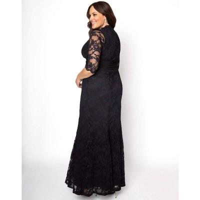 Kiyonna Women's Plus Size Screen Siren Lace Gown 5x Onyx
