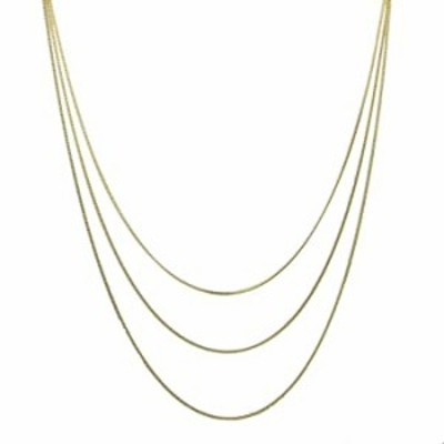 """18k Gold-Flashed Sterling Silver Multi-Strand Curb Chain Necklace Italy 16-20 plus 2"""" Extender"""