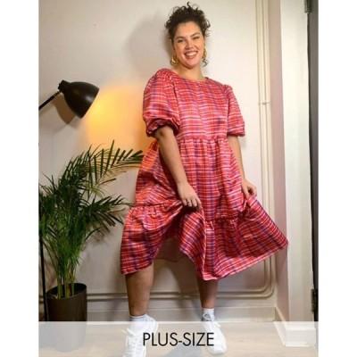グラマラス レディース ワンピース トップス Glamorous Curve midi volume smock dress in pink plaid