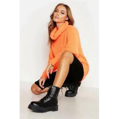 Boohoo レディーストップス Boohoo Oversized Roll Neck Rib Knit Jumper neon-orange
