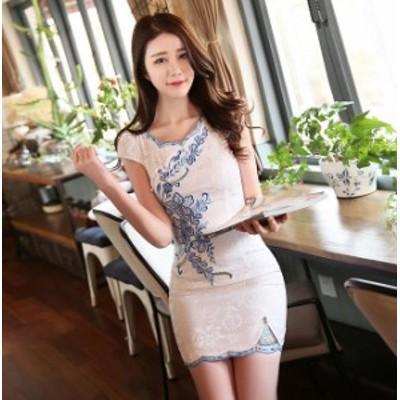 チャイナ ワンピース 花柄 ミニドレス ミニワンピース チャイナドレス 刺繡 H型