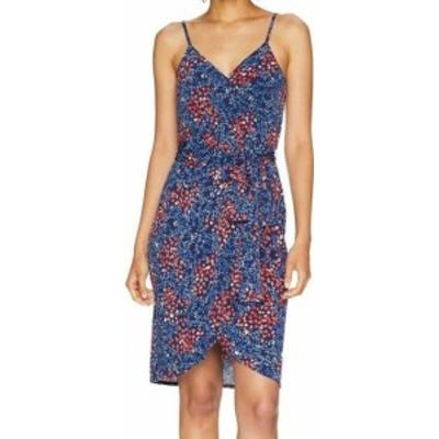 CeCe  ファッション ドレス Cece Womens Dress Blue Size 14 Sheath Disty Floral Print Faux-Wrap