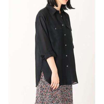 レディース アルディーノアール キュプラローンポケット付きシャツ ブラック フリー
