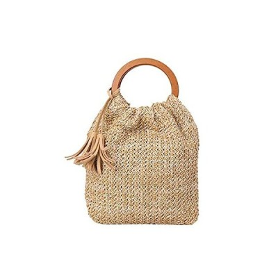 KAKAP レディース かごバッグ 巾着 編みかご 編みバック ストローバッグ 手提げバッグ 小さめ ハンドバッグ 鞄 カバン バッグ 浴衣 着物 か
