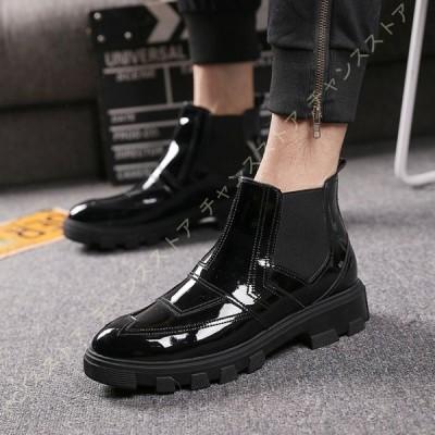 チェルシーブーツ ショートブーツ サイドゴア メンズ エナメル ワーク ビジネスブーツ 春秋 革靴 サイドゴアブーツ ベーシック クッション性 短ブーツ 保温性
