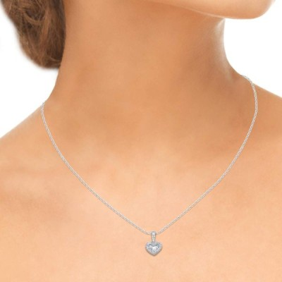 1/4 Carat Natural Diamond Necklace 10K White Gold Baguette and Round-S