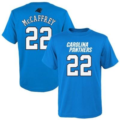 """キッズ Tシャツ Christian McCaffrey """"Carolina Panthers"""" Youth Mainliner Player Name & Number T-Shirt - Blue"""