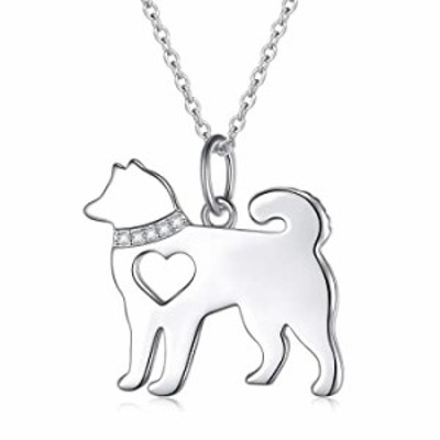 925 Sterling Silver Hollow Heart Husky Pet Dog Pendant Necklace for Women Teen Girls Birthday Gift Jewelry, 18 Inch (Husky Neckl