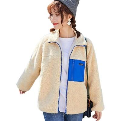 レディース ボアジャケットボアブルゾアウトドア 羽織り 長袖 防寒 コート 胸ポケット あっ たか ゆったり 粒 フリース オシャレ フワフワ もこも