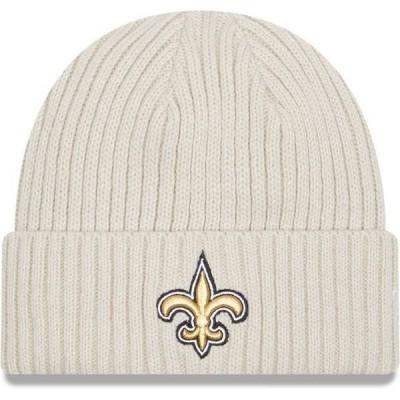 ニューエラ メンズ 帽子 アクセサリー New Era Men's New Orleans Saints Core Cuffed Knit White Beanie