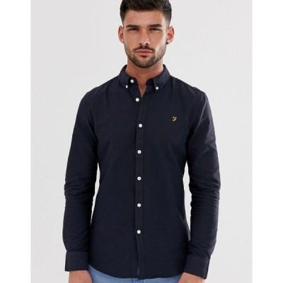 ファーラー メンズ シャツ トップス Farah Brewer slim fit oxford shirt in navy Navy