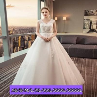 ウェディングドレス 結婚式ワンピース Vネック ハイウエスト マキシドレス ノースリーブ ロング丈ワンピ-ス