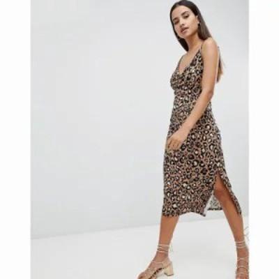 エイソス ワンピース ASOS DESIGN cowl front midi slip dress in leopard print Leopard print