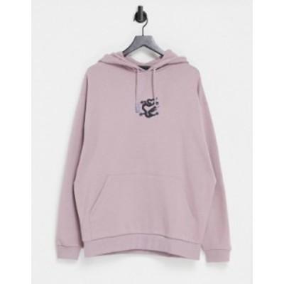 エイソス メンズ パーカー・スウェット アウター ASOS DESIGN oversized hoodie with small front print Toadstool