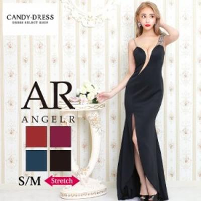S/M 送料無料 Angel R/エンジェルアール ストレッチ無地×アシンメトリービジューショルダーノースリーブスリットロングドレス AR20229
