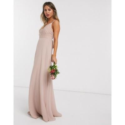 エイソス マキシドレス レディース ASOS DESIGN Bridesmaid cami maxi dress with ruched bodice and tie waist エイソス ASOS sale