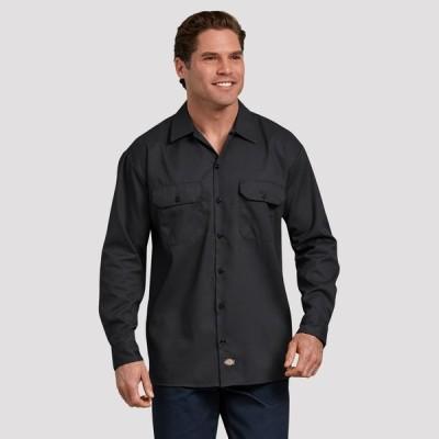 ディッキーズ Dickies メンズ シャツ トップス FLEX Relaxed Fit Long Sleeve Twill Work Shirt Black