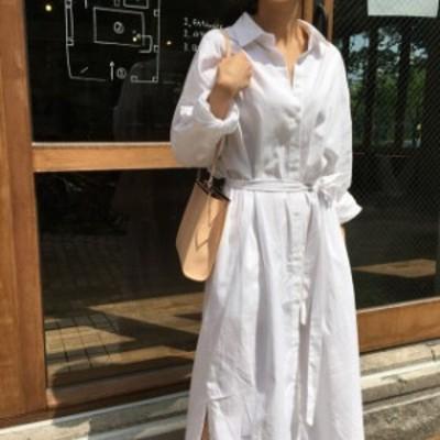 シャツワンピース レディース 春秋 無地 長袖 ロングワンピース ベルト付き 白い ブラウス ワンピース エレガント 女性 上品 着痩せ 婦人
