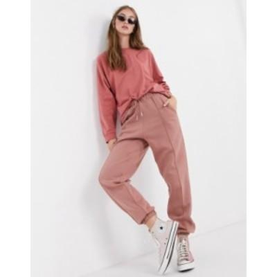 エイソス レディース カジュアルパンツ ボトムス ASOS DESIGN mix & match co-ord oversized sweatpants with pintuck in rose Pink