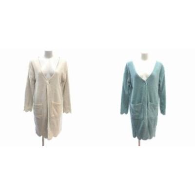 【中古】パラビオン +Petit standard ニットカーディガン リバーシブル ロング 長袖 ONE ベージュ 緑 グリーン
