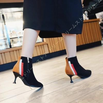 ショートブーツ レディース ポインテッドトゥ レディース靴 ピンヒール 6センチ 袴 ブーツ ハイヒール 痛くない ブーティ 幅広 歩きやすい 美脚 黒 履きやすい