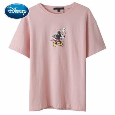 ディズニー Tシャツ 原宿 ミッキーマウス プリント Oネック プルオーバー 半袖 レディース コットン カジュアル ピンク