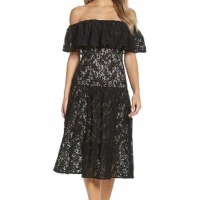 ファッション ドレス COOPER ST NEW Black Off-Shoulder Womens Size 6 A-Line Lace Dress