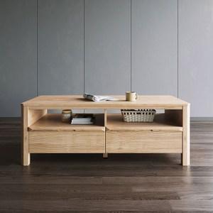 林氏木業北歐簡約1.2米雙抽茶几HS1L-原木色
