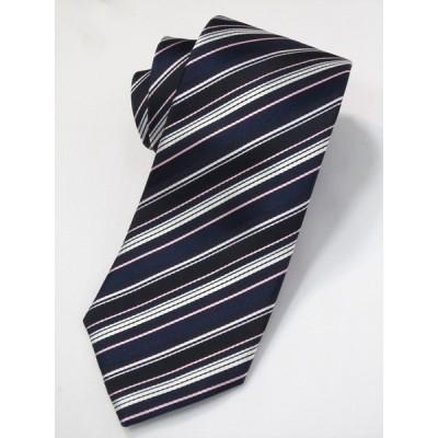 ネクタイ ビジネス ストライプ 紺 ピンク 白 シルク 西陣織 ネコポス