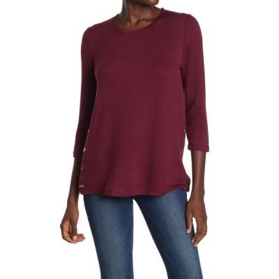 ボベー レディース Tシャツ トップス 3/4 Length Sleeve Side Button Top BURGUNDY