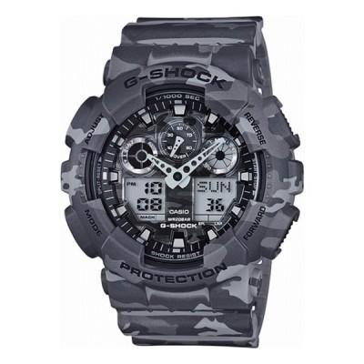 腕時計 メンズ カシオ Gショック(G-SHOCK) 100型 アナデジ クォーツ カモフラージュ グレー/カモフラージュ ブラック色 GA-100CM-8A 逆輸入品