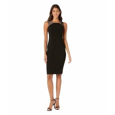 ホルストンヘリテイジ ワンピース トップス レディース Sleeveless Square Neck Shoulder Strips Crepe Dress Black 1