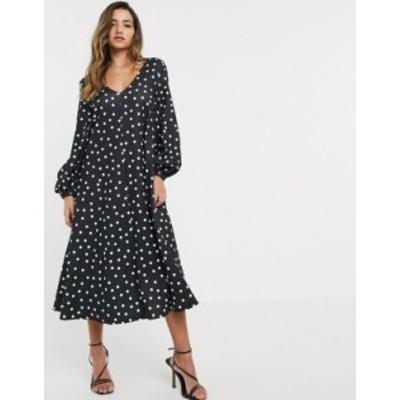エイソス レディース ワンピース トップス ASOS DESIGN textured midi v neck swing dress in polka dot Polka dot