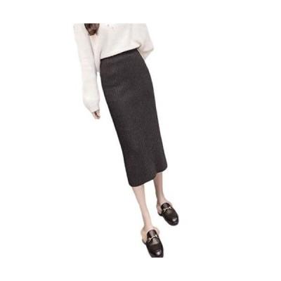[ルミーワナ] ドッキング ロング ニット デザイン 新カラーバリエーション追加 スカート らくちん 体型 カバー