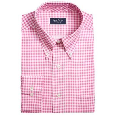 クラブルーム メンズ シャツ トップス Men's Classic/Regular Fit Non-Iron Stretch Medium Gingham Dress Shirt