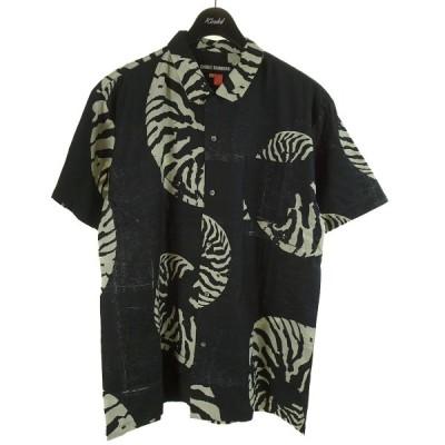 DOUBLE RAINBOUU HAWAIIAN SHIRT 総柄半袖シャツ ブラック サイズ:L (和歌山店) 210602